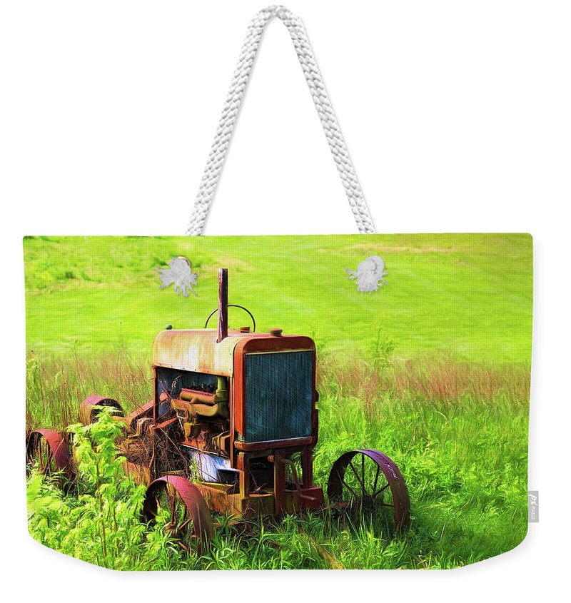 Tractor Weekender Tote Bag featuring the photograph Abandoned Farm Tractor by Tom Mc Nemar