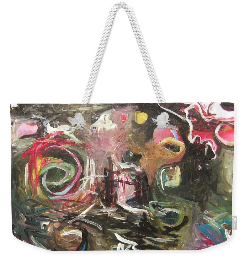 Abstract Paintings Weekender Tote Bag featuring the painting Abandoned Idea2 by Seon-Jeong Kim