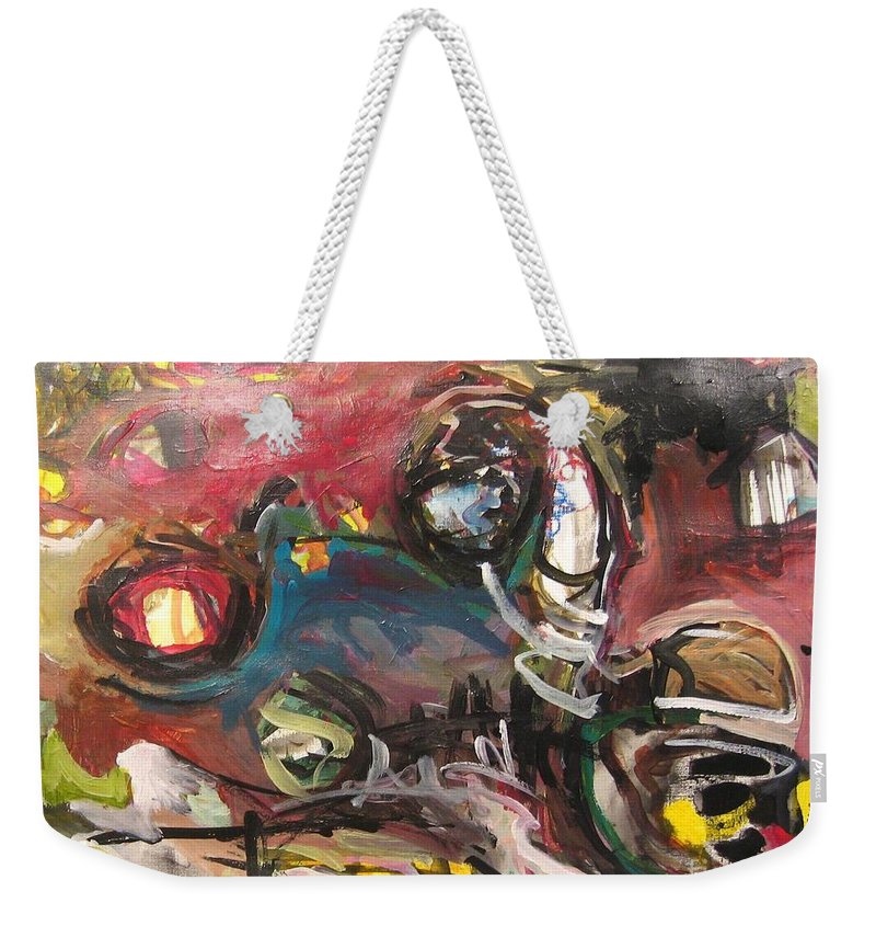Abstract Paintings Weekender Tote Bag featuring the painting Abandoned Ideas by Seon-Jeong Kim