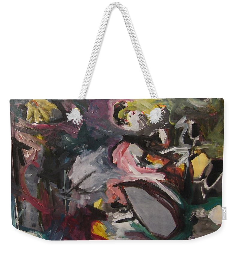 Abstract Paintings Weekender Tote Bag featuring the painting Abandoned Ideas4 by Seon-Jeong Kim