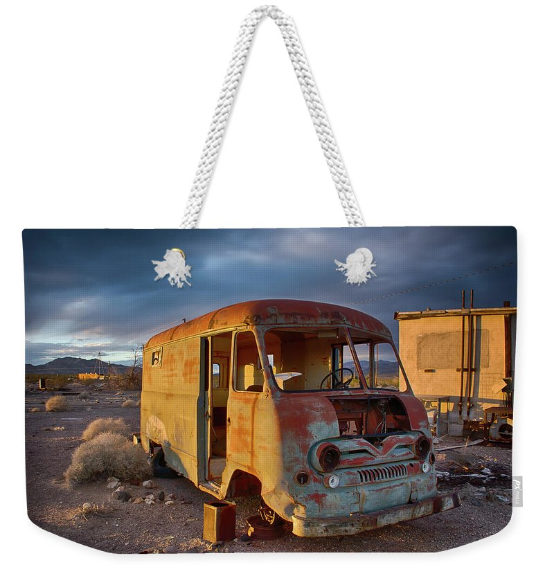 Abandoned Weekender Tote Bag featuring the photograph Abandoned Van by Charles Scrofano Jr