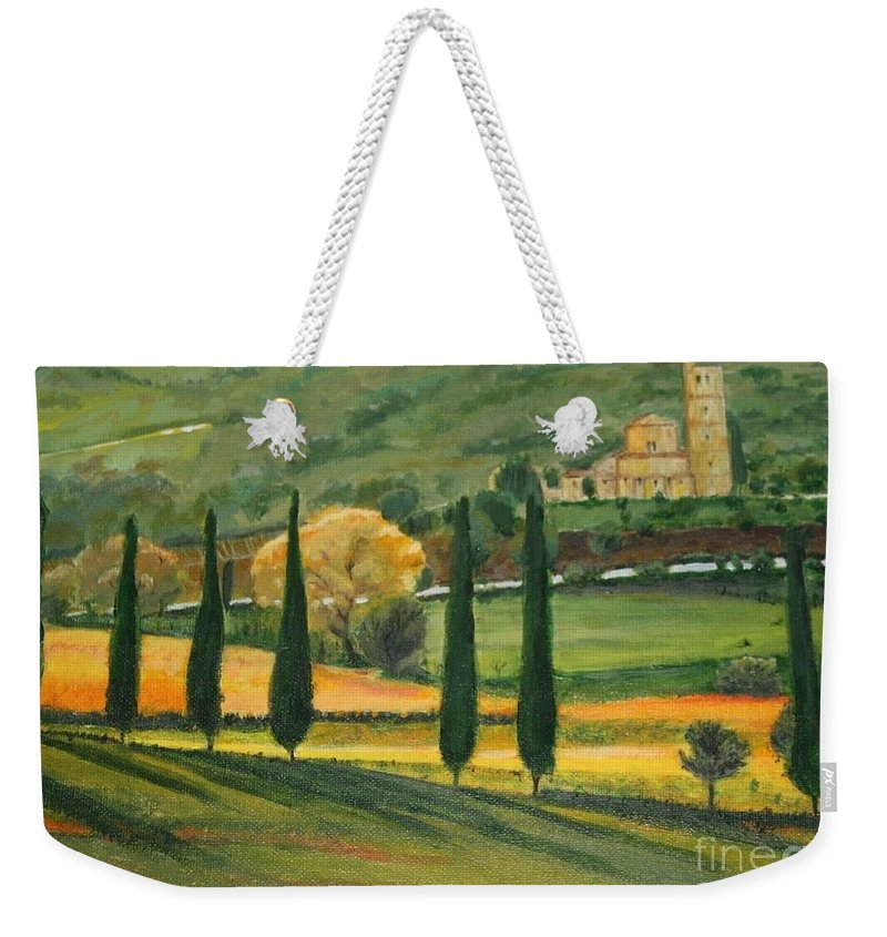 Landscape Weekender Tote Bag featuring the painting Abbey Tascany by Antonina Dunaeva