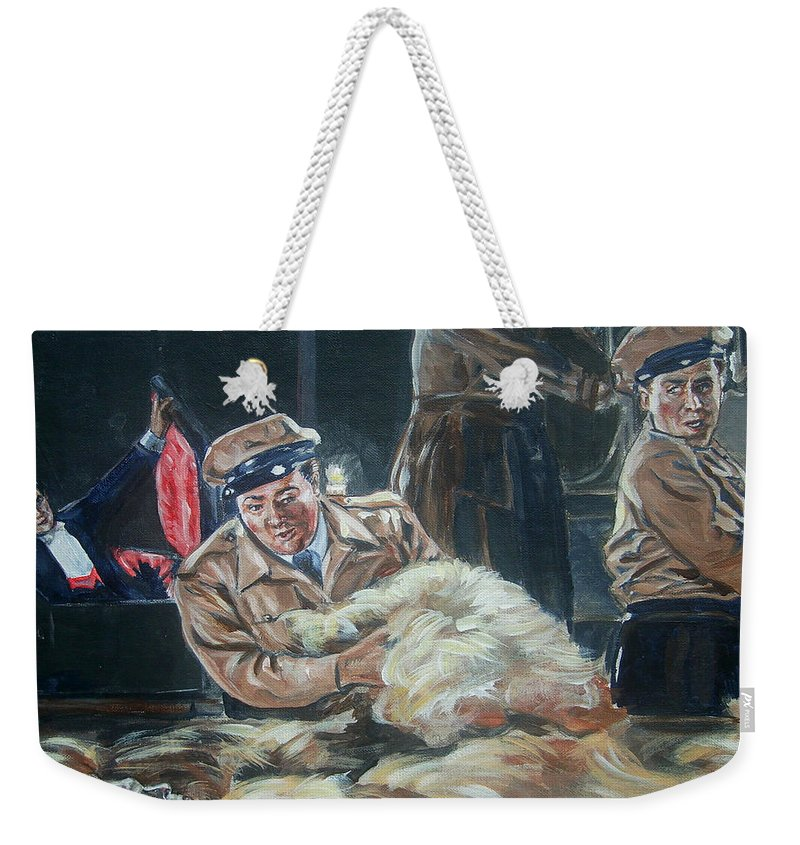 Comedy Weekender Tote Bag featuring the painting Abbott And Costello Meet Frankenstein by Bryan Bustard