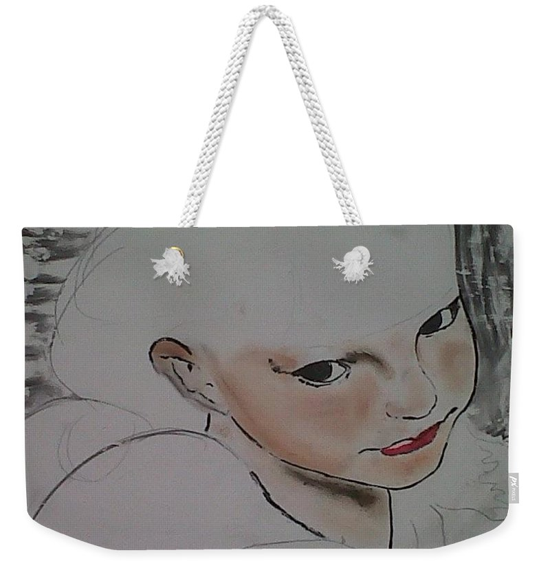 Angel Weekender Tote Bag featuring the drawing Abby's flowers unfinished by J Bauer