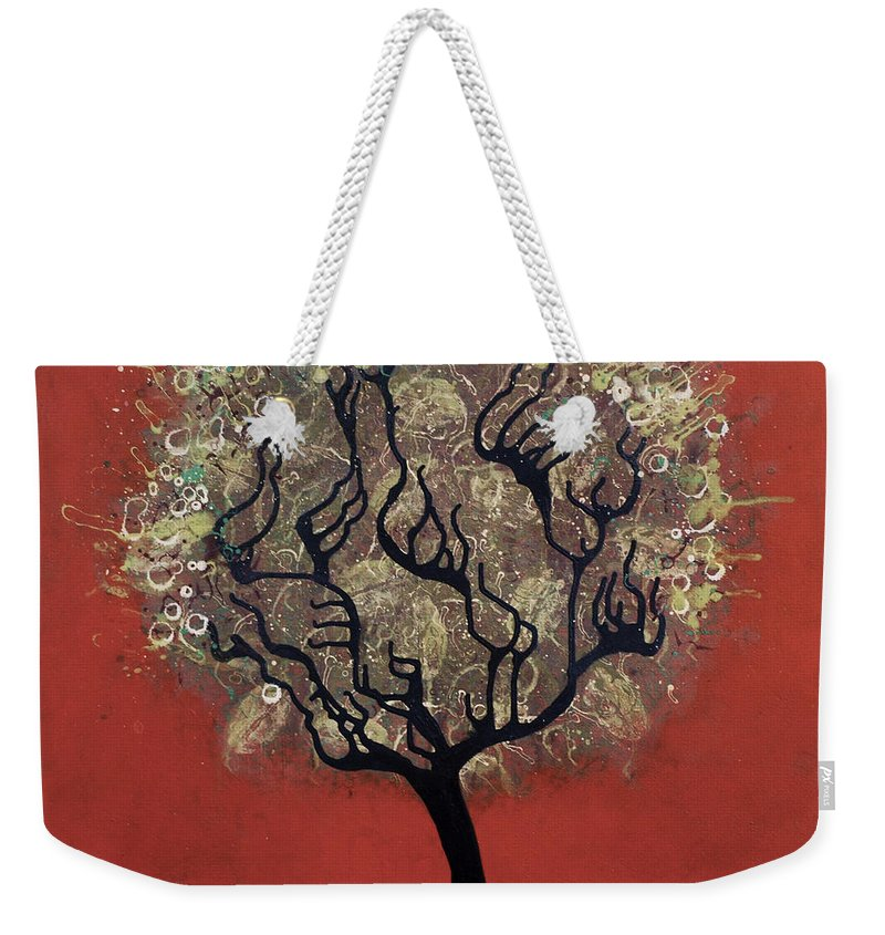 Tree Weekender Tote Bag featuring the painting Abc Tree by Kelly Jade King