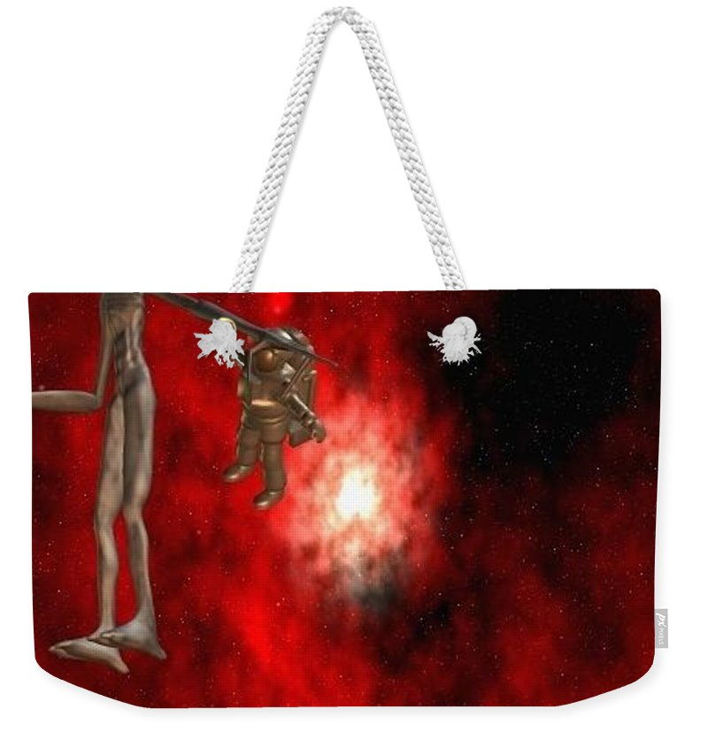 Artrage Artrageus Comics Cartoon Space Aliens Astronaut Weekender Tote Bag featuring the digital art Abducted by Robert aka Bobby Ray Howle