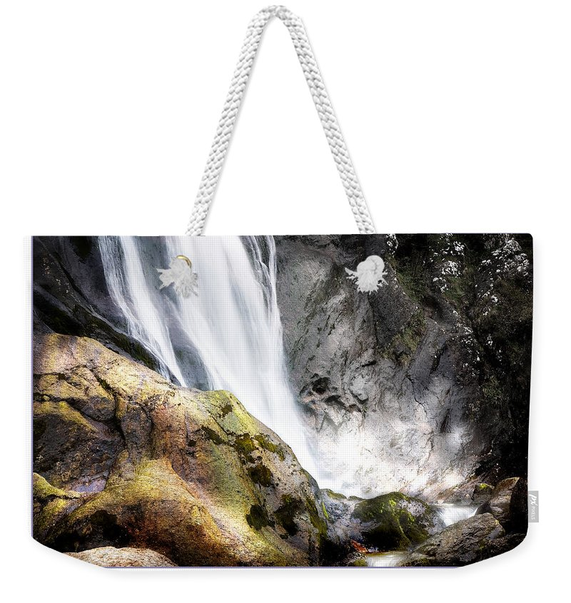 Aber Weekender Tote Bag featuring the photograph Aber Falls by Mal Bray