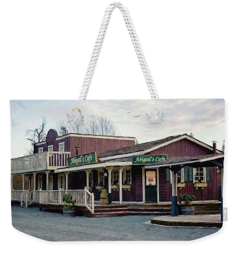 Abigails Cafe Weekender Tote Bag featuring the painting Abigail's Cafe - Hope Valley Art by Jordan Blackstone
