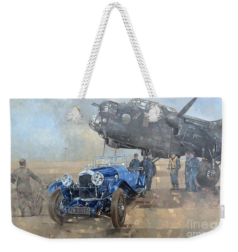 Car; Vehicle; Airplane; Aeroplane; Plane; Military; Air Force; Vintage; Classic Cars; Vintage Car; Nostalgia; Nostalgic; Blue Lagonda Weekender Tote Bag featuring the painting Able Mable And The Blue Lagonda by Peter Miller