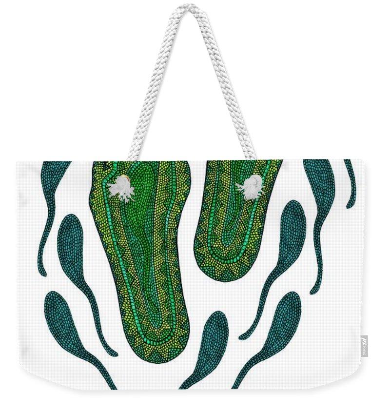 Aboriginal Feet Weekender Tote Bag featuring the digital art Aboriginal Footprints Green Transparent Background by Barbara St Jean