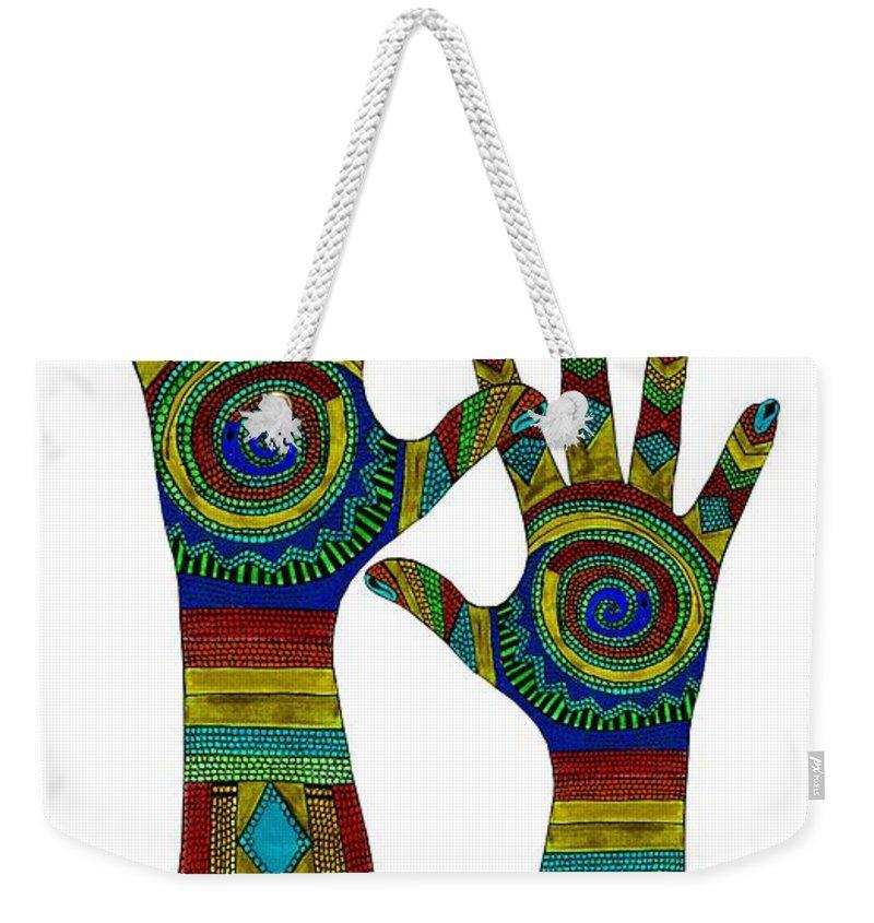 Aboriginal Hands Weekender Tote Bag featuring the digital art Aboriginal Hands Gold Transparent Background by Barbara St Jean