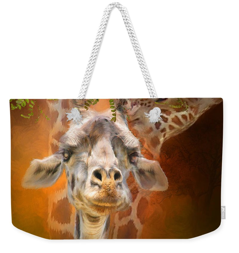 Giraffe Weekender Tote Bag featuring the mixed media Above It All by Carol Cavalaris
