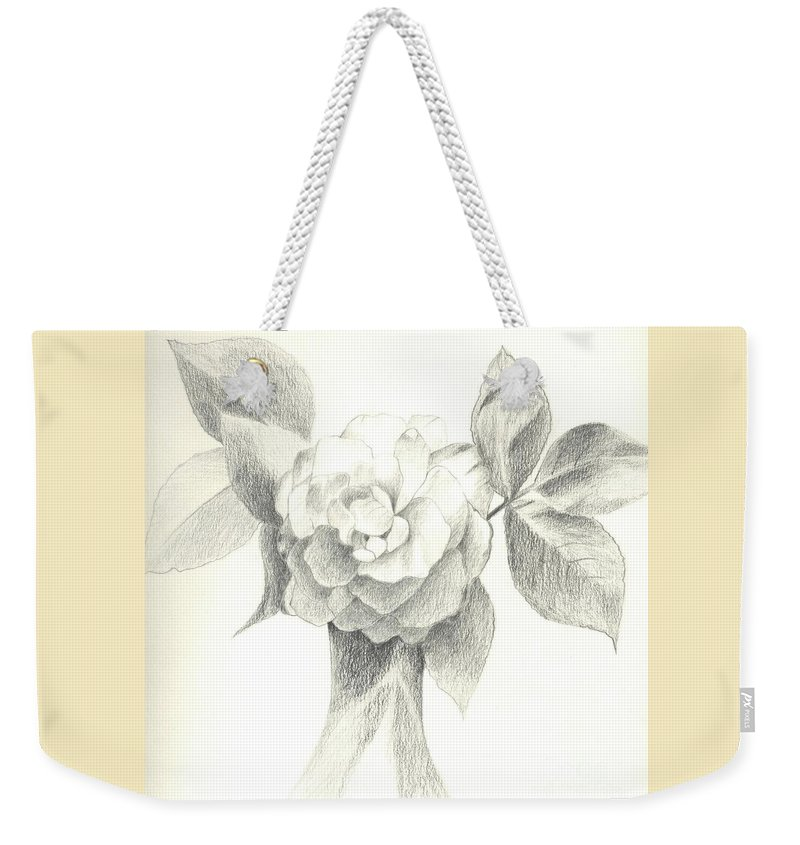 Rose Weekender Tote Bag featuring the drawing Abracadabra by Helena Tiainen