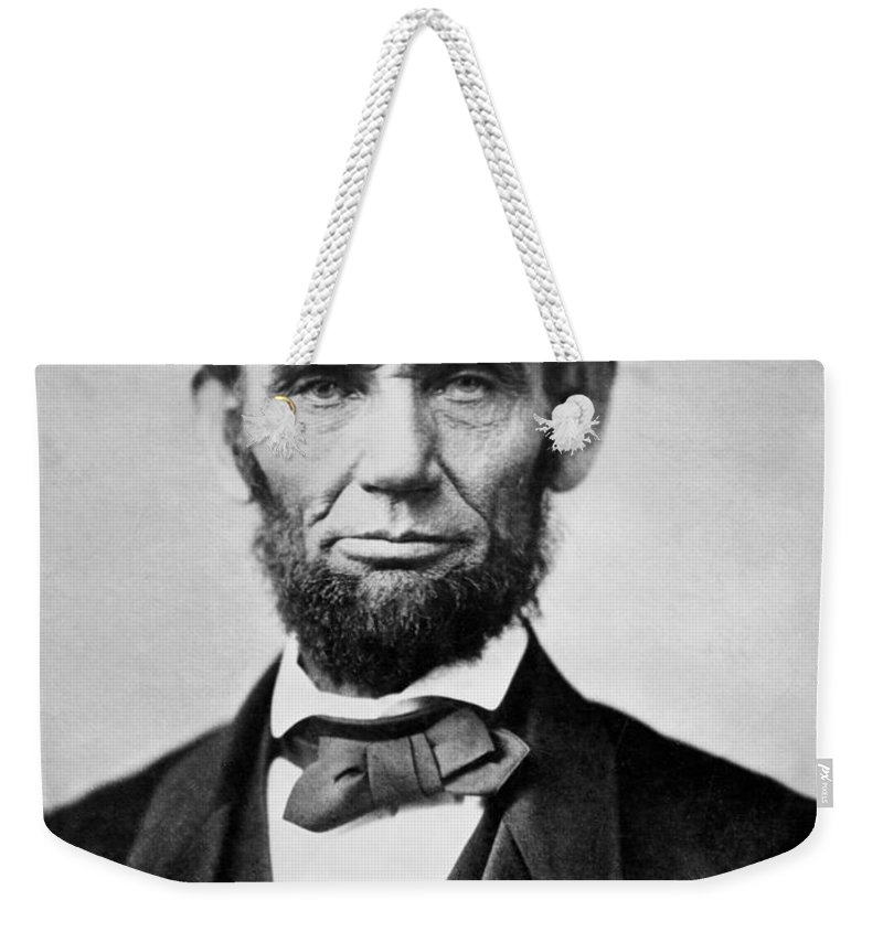 abraham Lincoln Weekender Tote Bag featuring the photograph Abraham Lincoln - Portrait by International Images