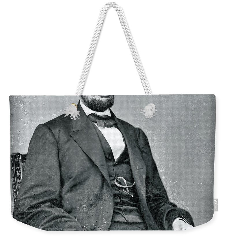 abraham Lincoln Weekender Tote Bag featuring the photograph Abraham Lincoln Glass Negative by Daniel Hagerman