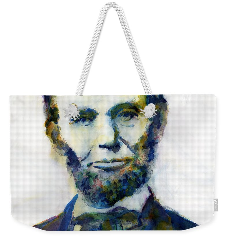 Abraham Weekender Tote Bag featuring the painting Abraham Lincoln Portrait Study 2 by Hailey E Herrera