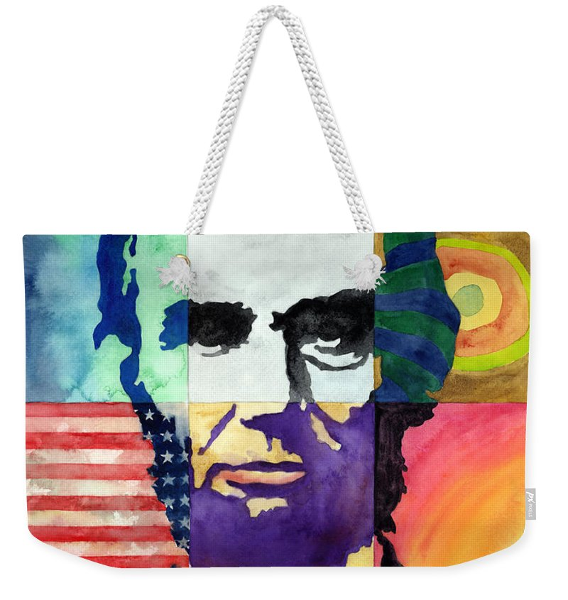 Abraham Weekender Tote Bag featuring the painting Abraham Lincoln Portrait Study by Hailey E Herrera