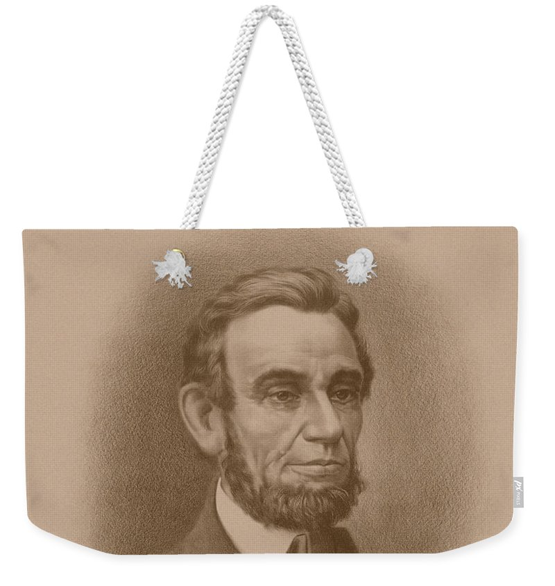 Abraham Lincoln Weekender Tote Bag featuring the drawing Abraham Lincoln - Savior Of His Country by War Is Hell Store