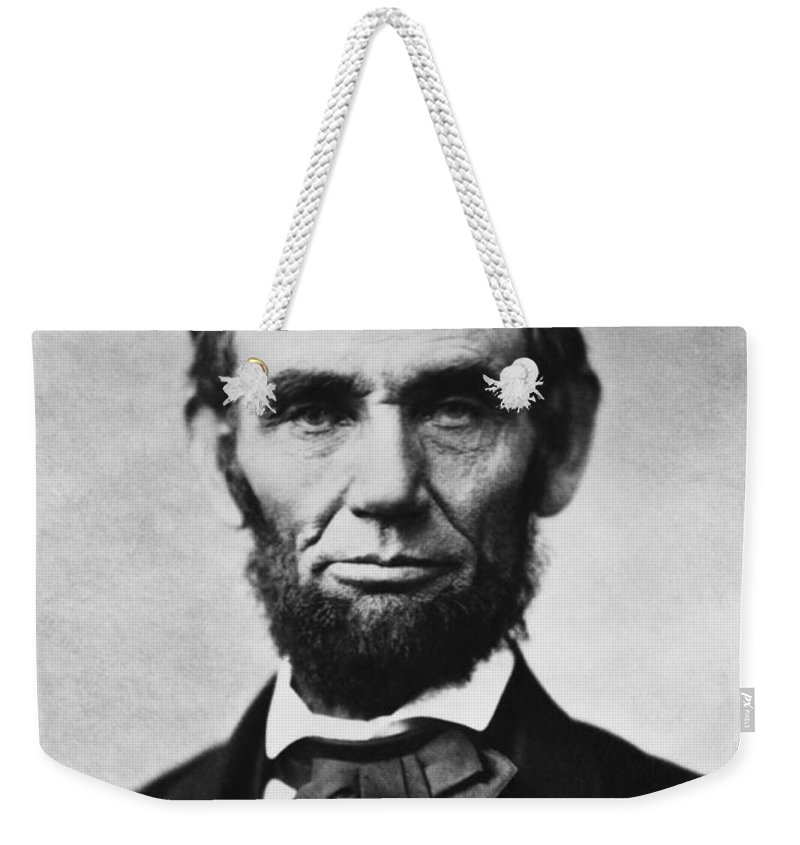 Abraham Lincoln Weekender Tote Bag featuring the photograph Abraham Lincoln by War Is Hell Store