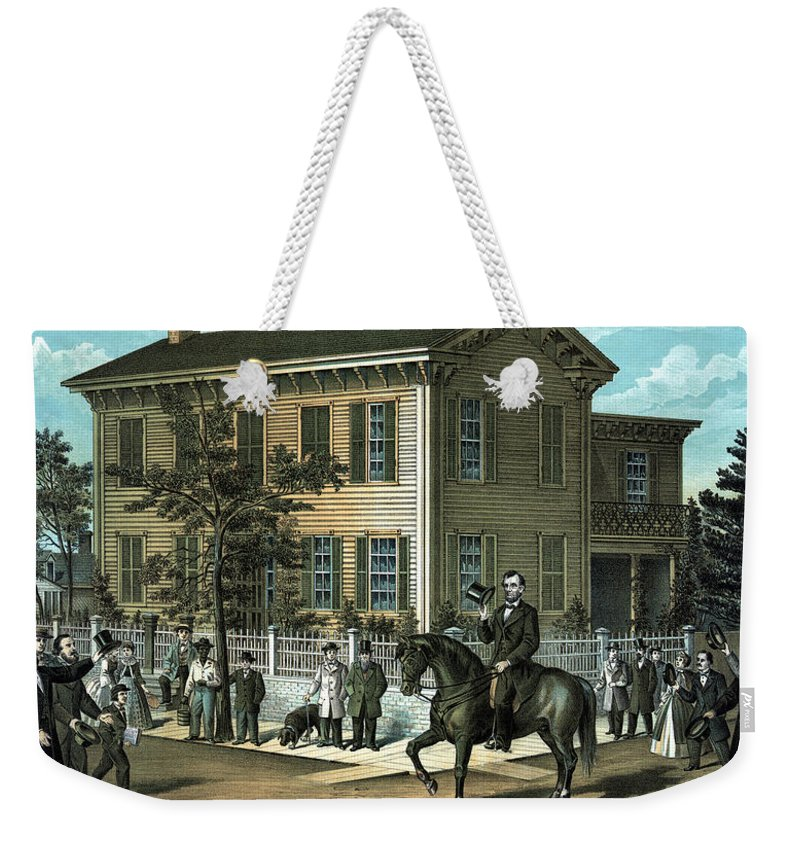 Abraham Lincoln Weekender Tote Bag featuring the painting Abraham Lincoln's Return Home by War Is Hell Store