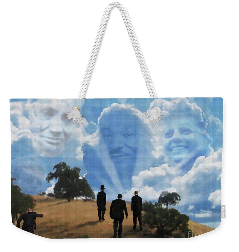Canvas Prints Weekender Tote Bag featuring the digital art Abraham Martin And John by Joseph Juvenal