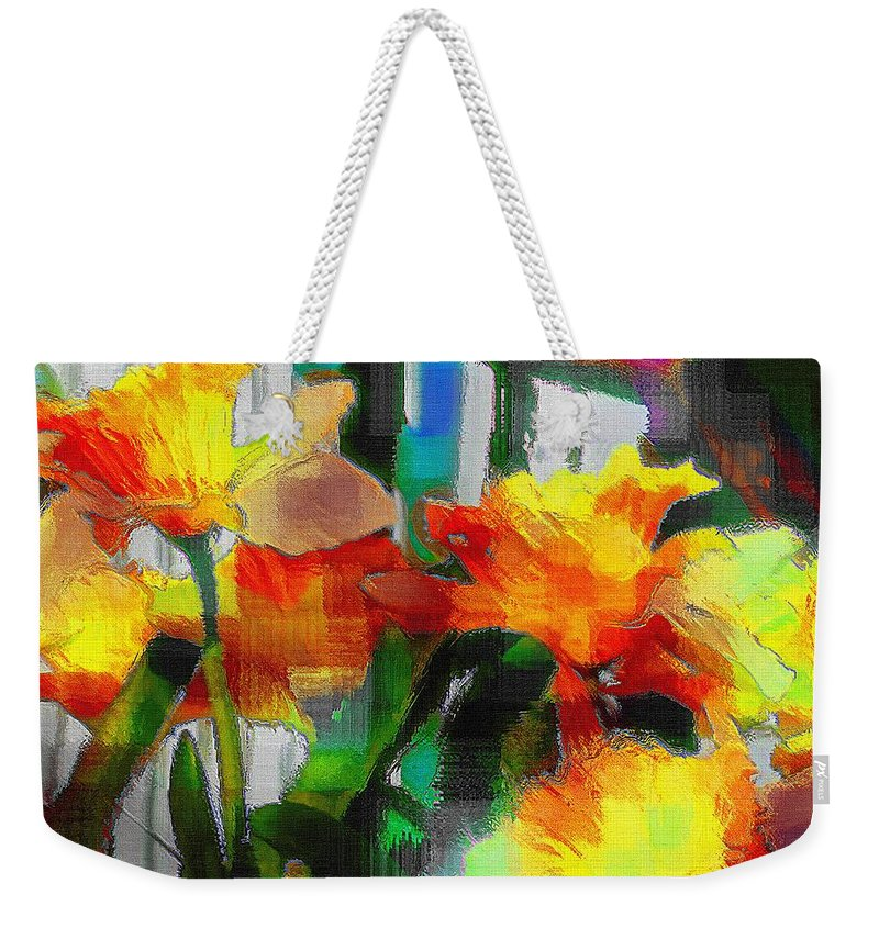 Absinthe Weekender Tote Bag featuring the painting Absinthe Daffies by RC DeWinter
