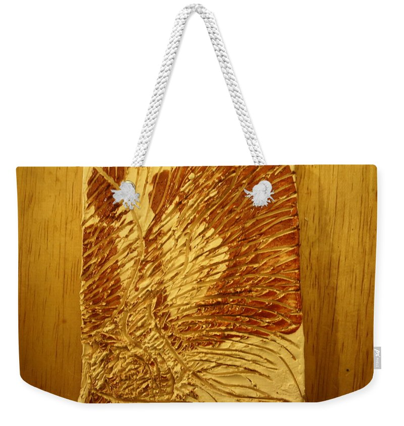 Jesus Weekender Tote Bag featuring the ceramic art Abstract - Tile by Gloria Ssali