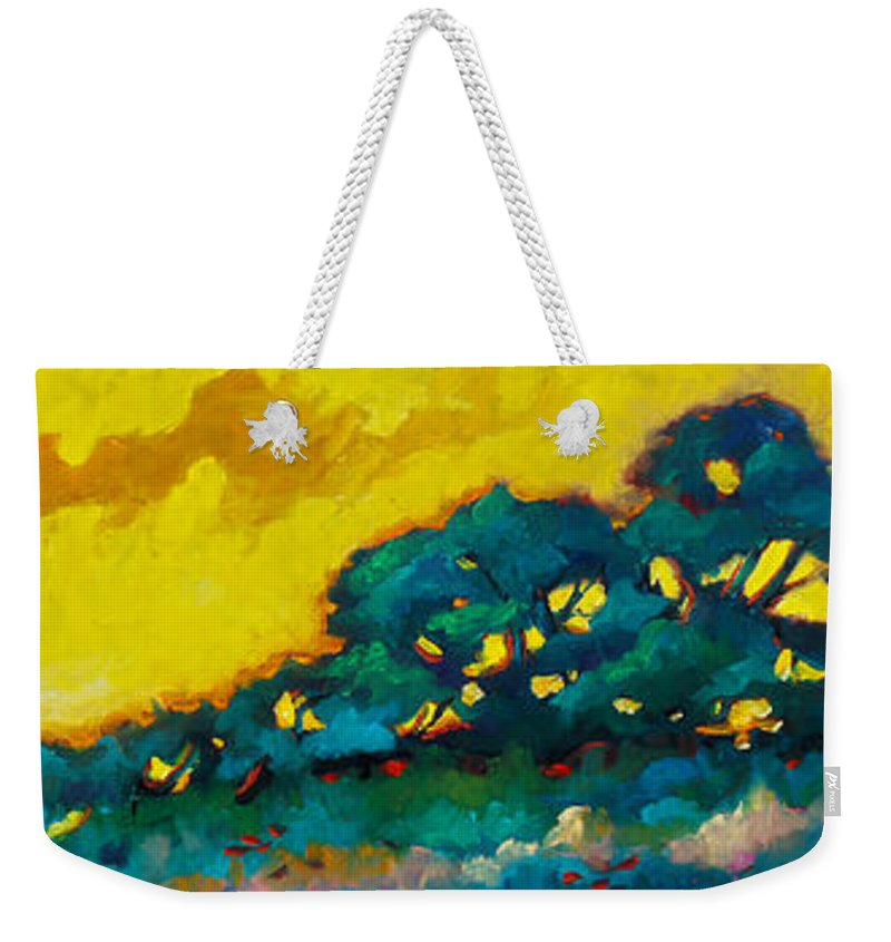 Abstract Weekender Tote Bag featuring the painting Abstract 01 by Richard T Pranke