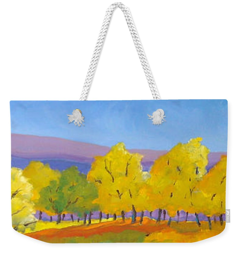 Abstract Weekender Tote Bag featuring the painting Abstract 02 by Richard T Pranke