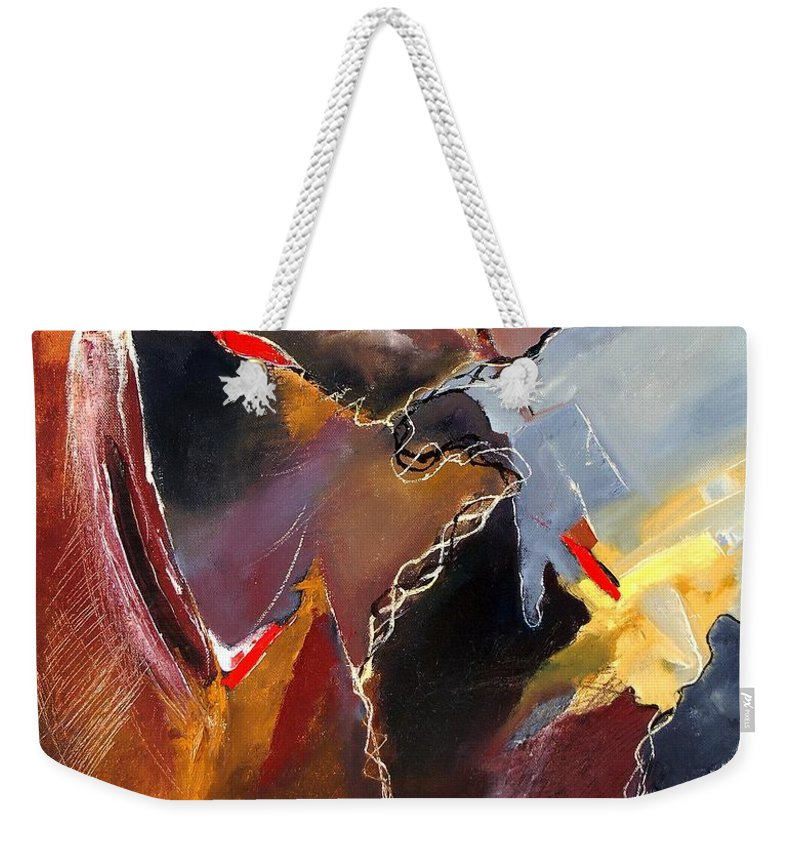 Abstract Weekender Tote Bag featuring the painting Abstract 020606 by Pol Ledent