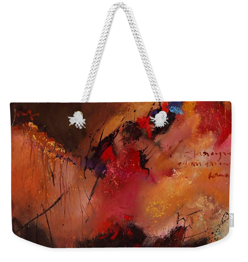 Abstract Weekender Tote Bag featuring the painting Abstract 0408 by Pol Ledent