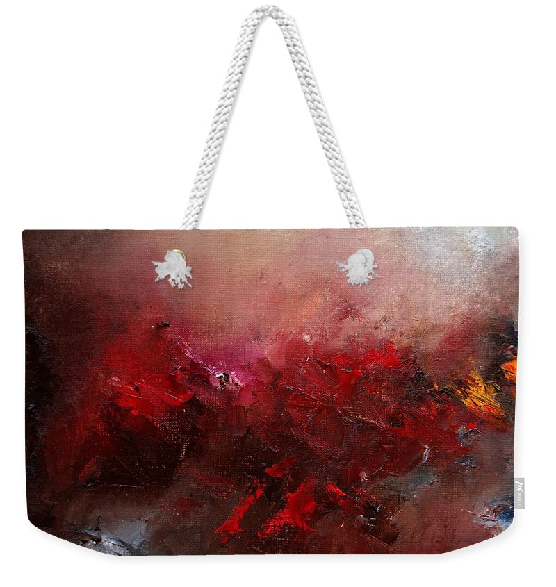 Abstract Weekender Tote Bag featuring the painting Abstract 056 by Pol Ledent
