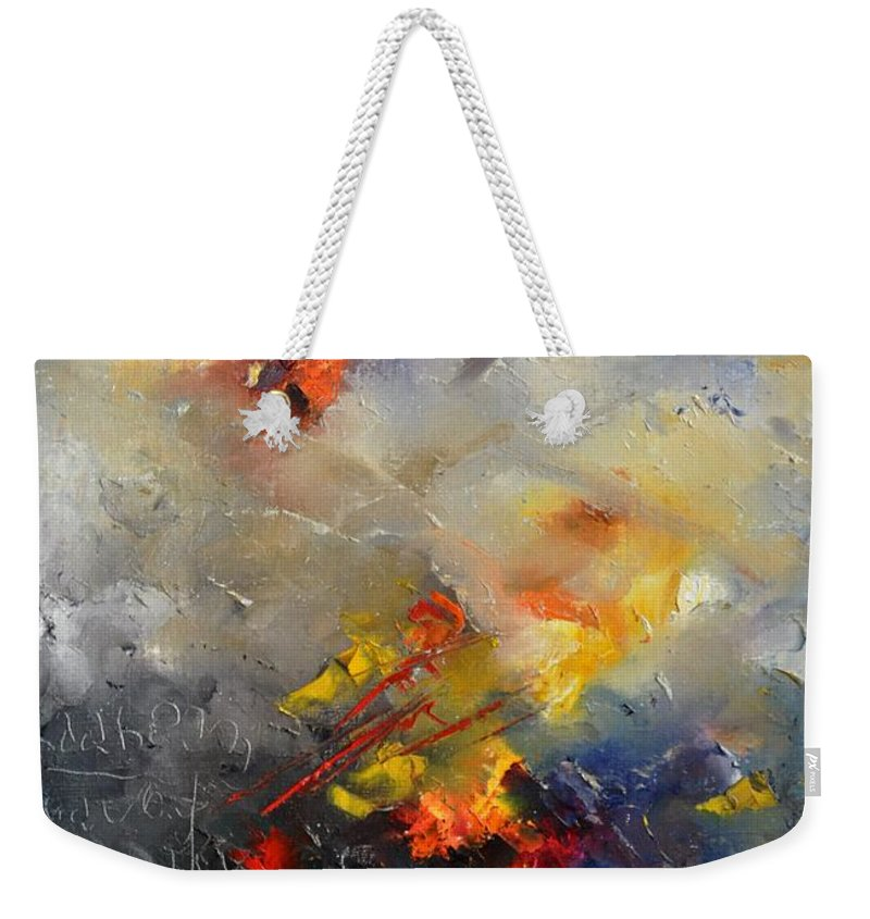 Abstract Weekender Tote Bag featuring the painting Abstract 0805 by Pol Ledent
