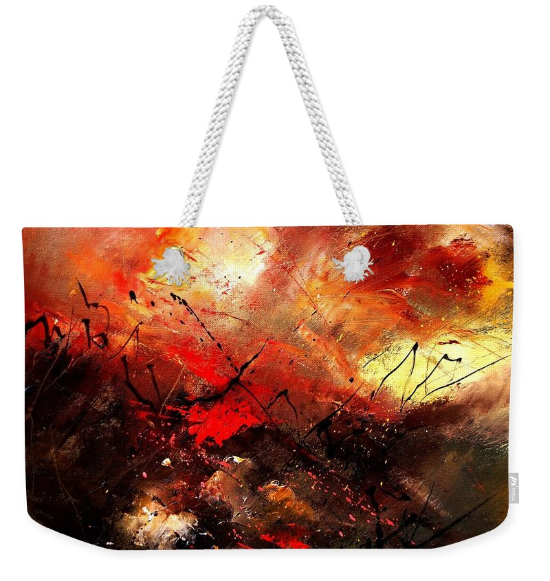 Abstract Weekender Tote Bag featuring the painting Abstract 100202 by Pol Ledent