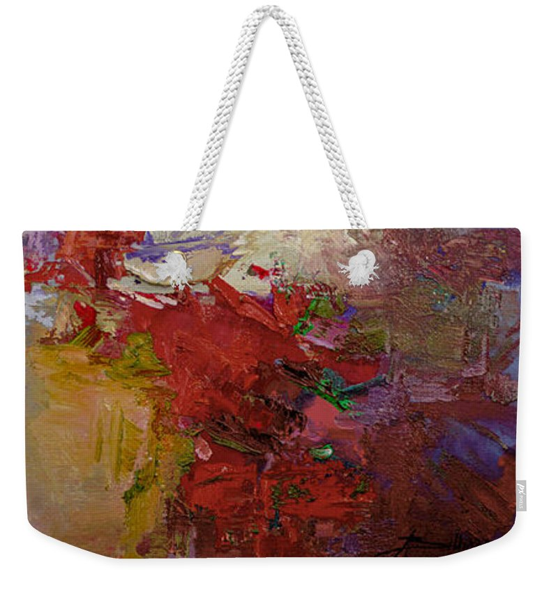 Abstract Weekender Tote Bag featuring the painting Abstract 103 by Betty Jean Billups