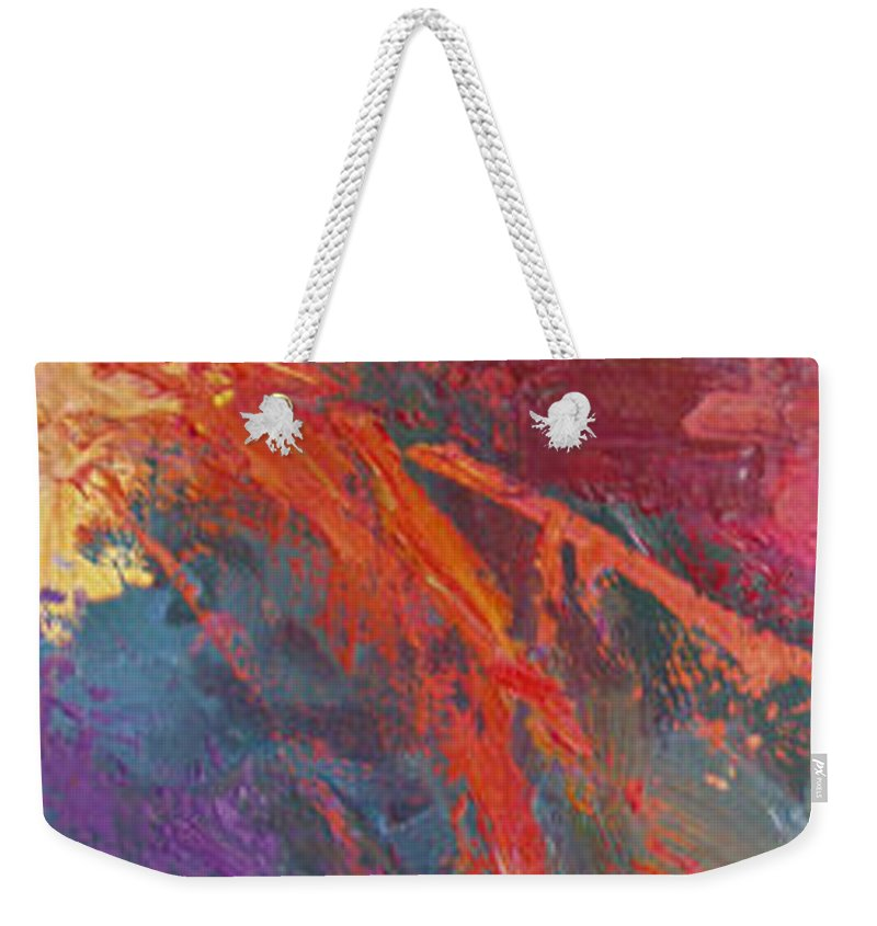 Abstract Weekender Tote Bag featuring the painting Abstract 103a by Betty Jean Billups