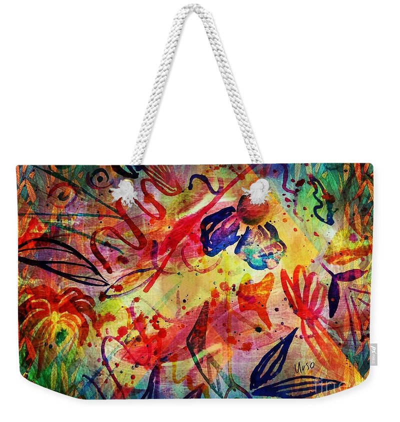 Abstract 17-05 Weekender Tote Bag featuring the painting Abstract 17-05 by Maria Urso