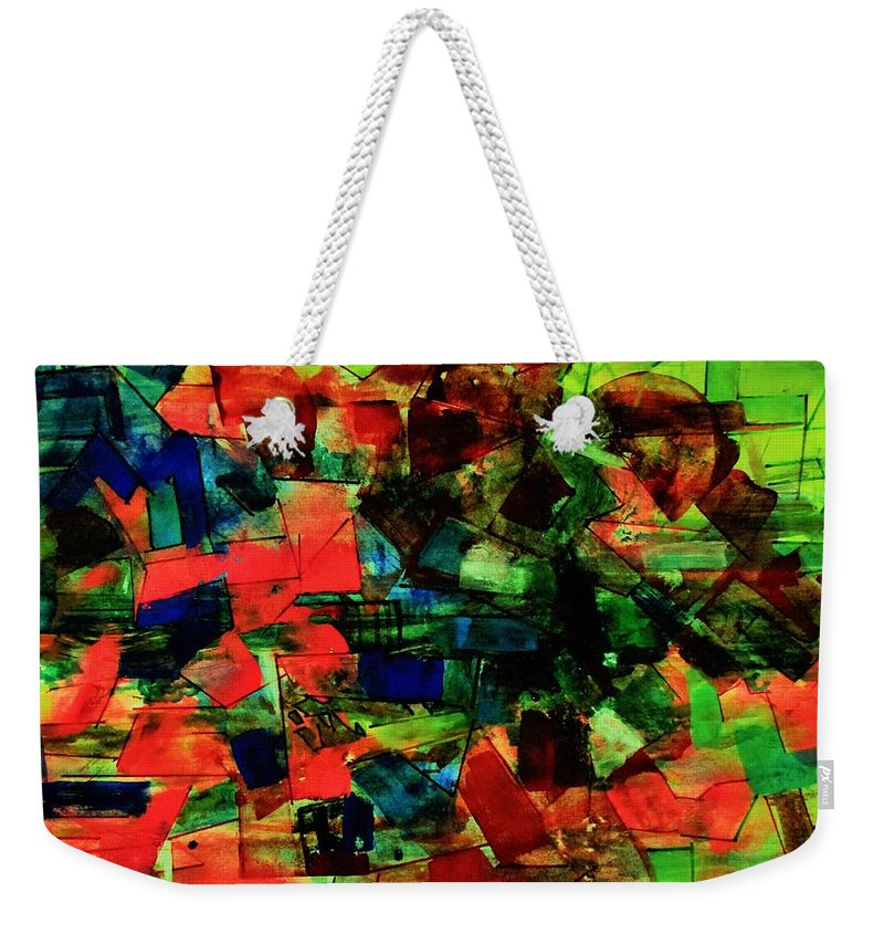 Abstract Weekender Tote Bag featuring the painting Vibrant Flow. by Khalid Saeed