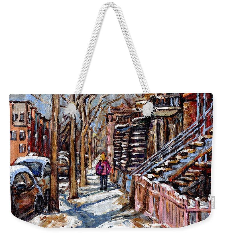 Original Montreal Paintings For Sale Weekender Tote Bag featuring the painting Scenes De Ville De Montreal En Hiver Original Quebec Art For Sale Montreal Street Scene by Carole Spandau