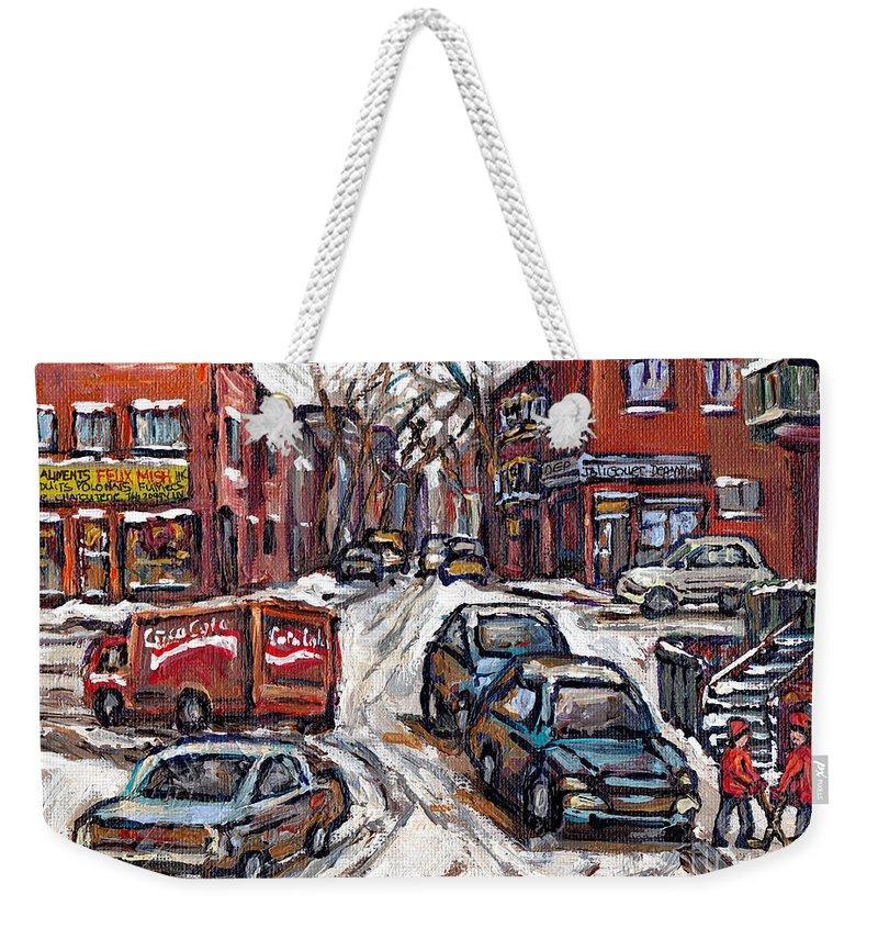 Original Montreal Paintings For Sale Weekender Tote Bag featuring the painting Ville Emard En Peinture Scenes De Ville De Montreal En Hiver Petit Format A Vendre by Carole Spandau