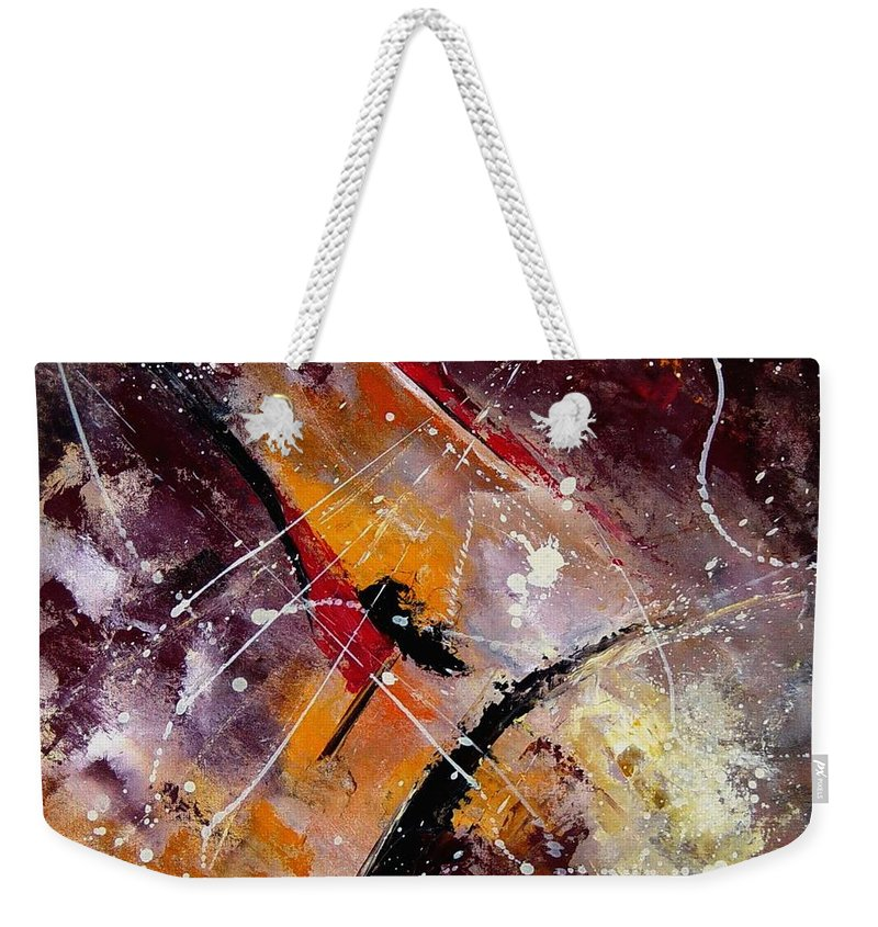 Abstract Weekender Tote Bag featuring the painting Abstract 45 by Pol Ledent