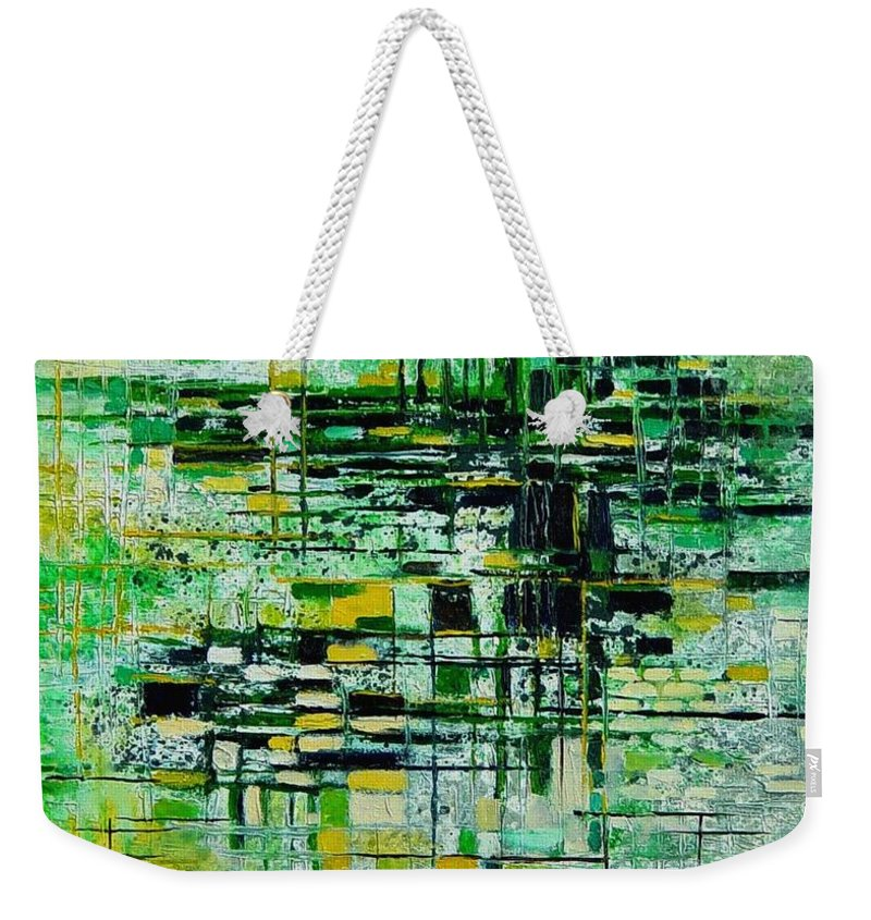 Abstract Weekender Tote Bag featuring the painting Abstract 5 by Pol Ledent