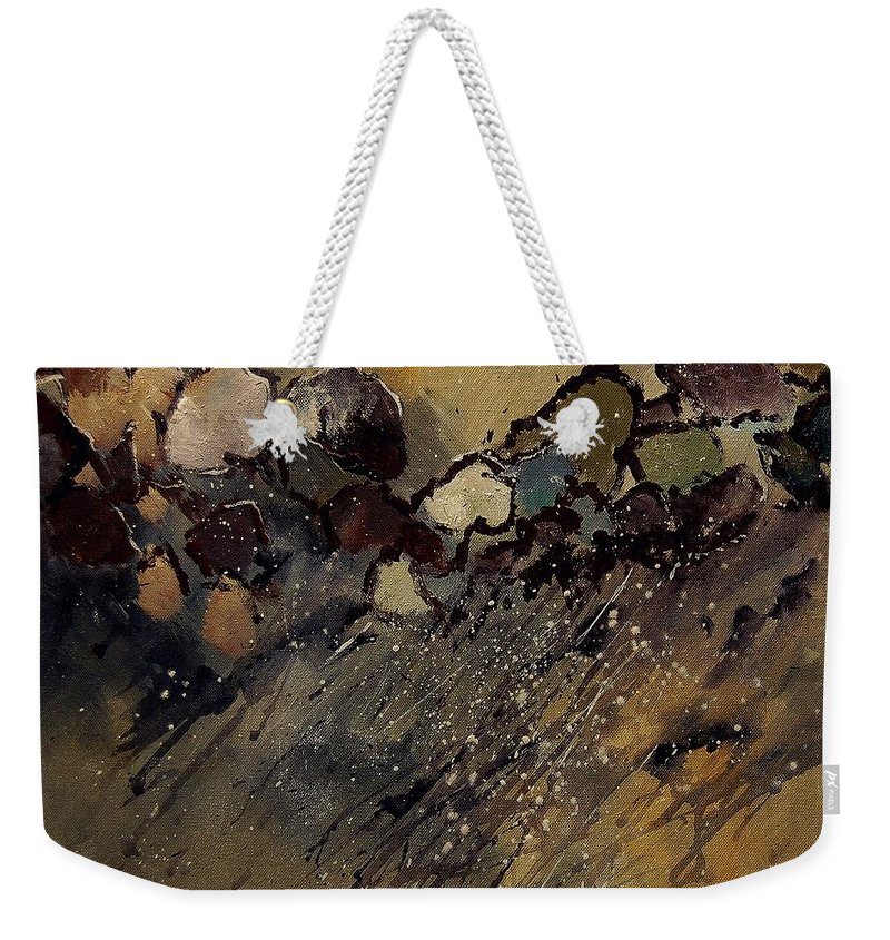 Abstract Weekender Tote Bag featuring the painting Abstract 55901161 by Pol Ledent