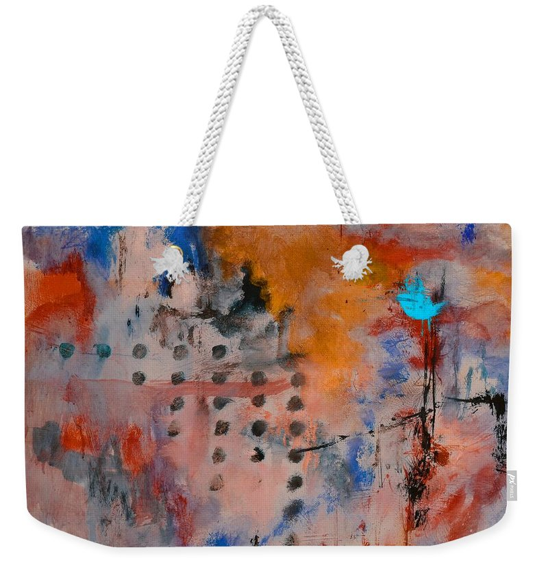 Abstract Weekender Tote Bag featuring the painting Abstract 66611032 by Pol Ledent