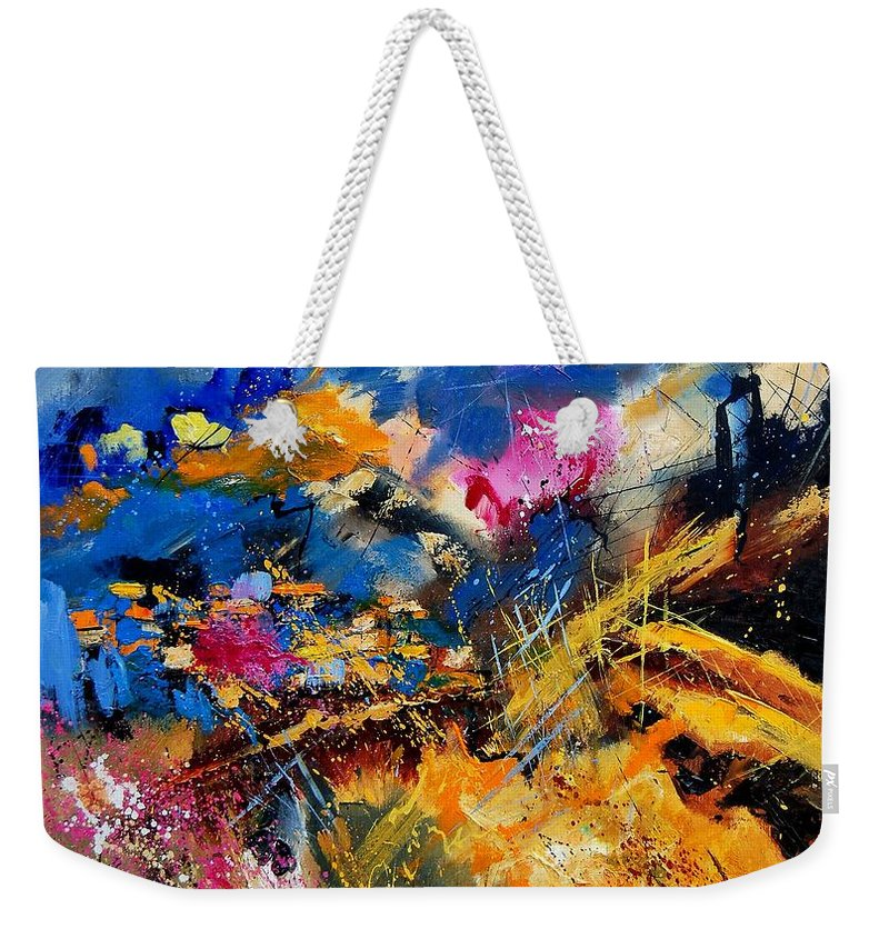 Abstract Weekender Tote Bag featuring the painting Abstract 7808082 by Pol Ledent