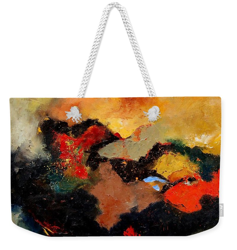 Abstract Weekender Tote Bag featuring the painting Abstract 8080 by Pol Ledent