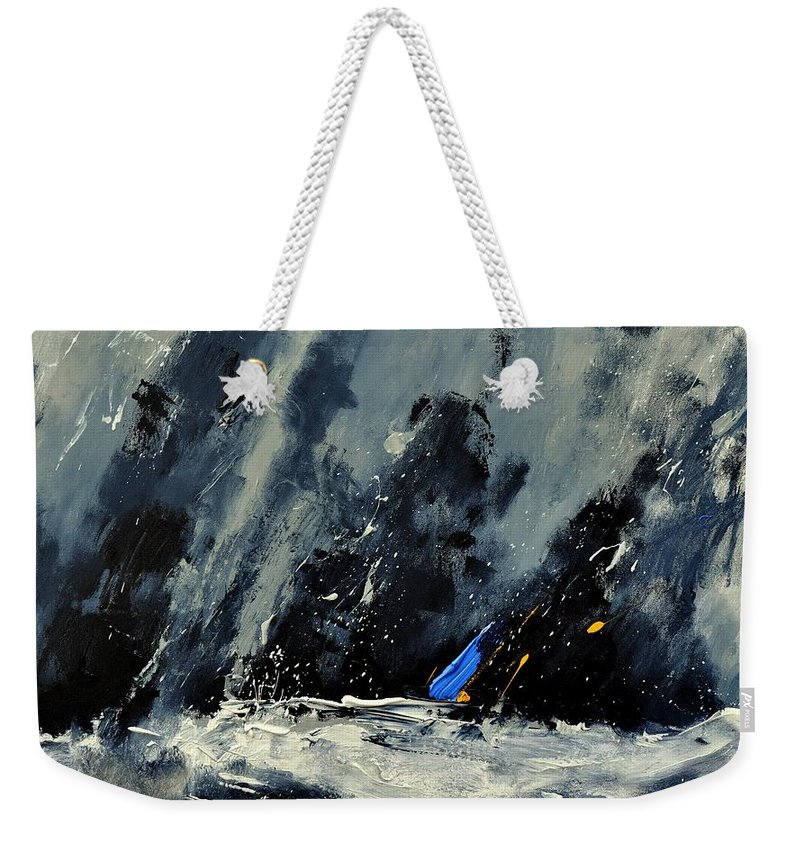 Abstract Weekender Tote Bag featuring the painting Abstract 88114080 by Pol Ledent