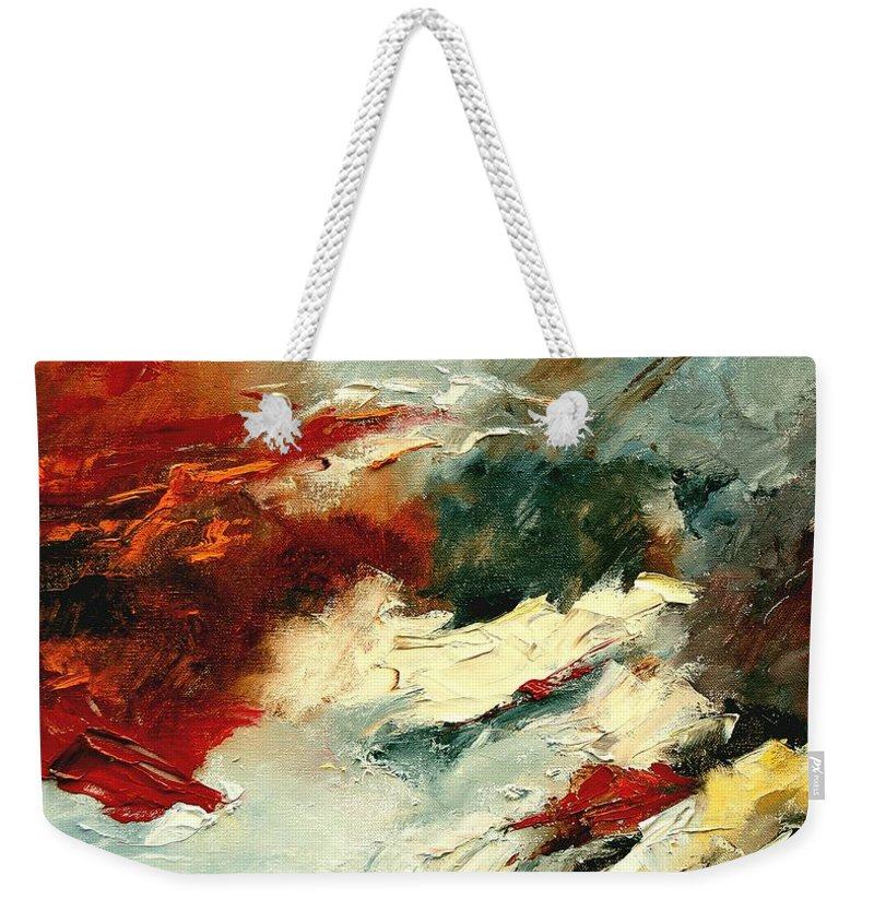 Abstract Weekender Tote Bag featuring the painting Abstract 9 by Pol Ledent