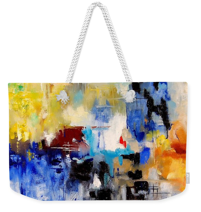 Abstract Weekender Tote Bag featuring the painting Abstract 905003 by Pol Ledent
