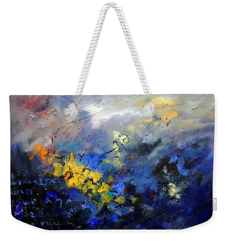 Abstract Weekender Tote Bag featuring the painting Abstract 970208 by Pol Ledent